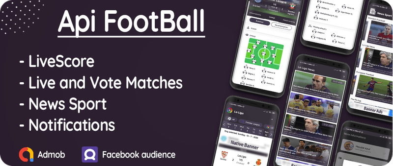 Flutter Football API: LiveScore & Vote Matches & News Sport & Live Matches ( Admob & Facebook ads ) - 1