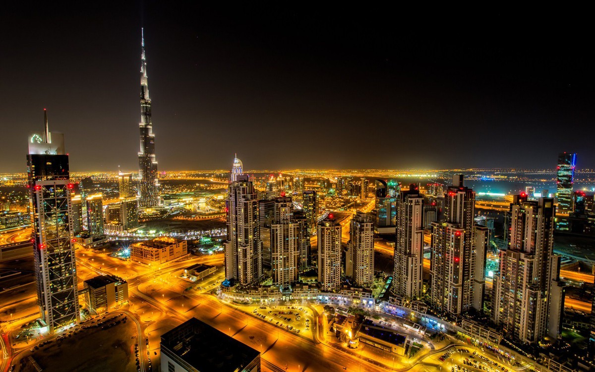 dubai city night road building hd wallpaper_1920x1200