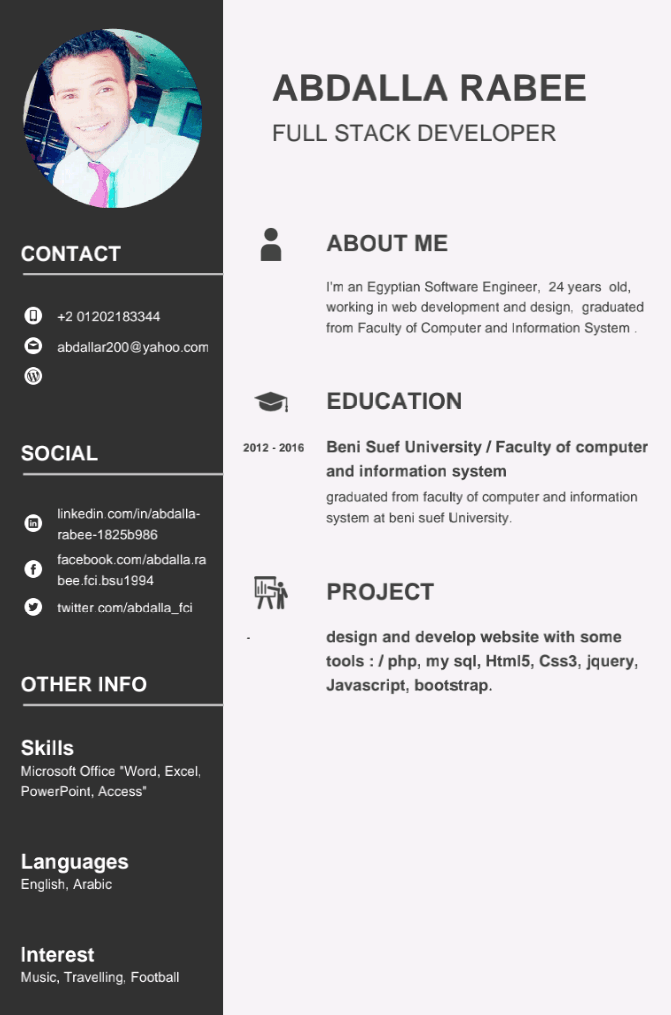 Cv for web developers