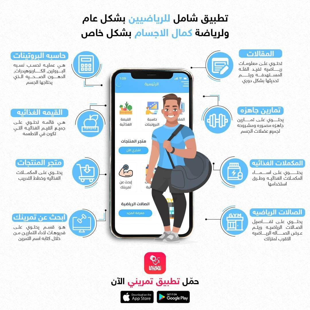 تطبيق تمريني دليل كمال الأجسام الاول في الوطن العربي