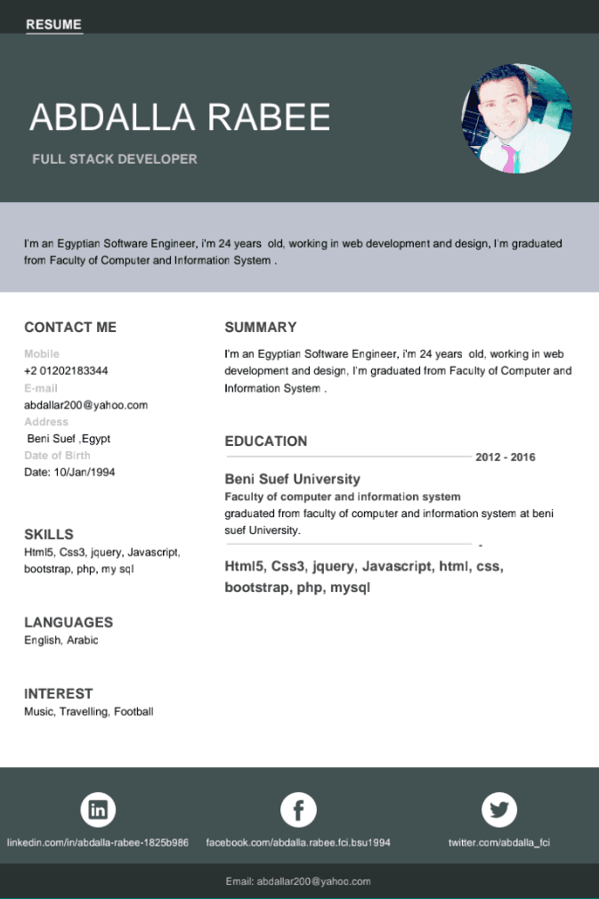 Cv for php developer