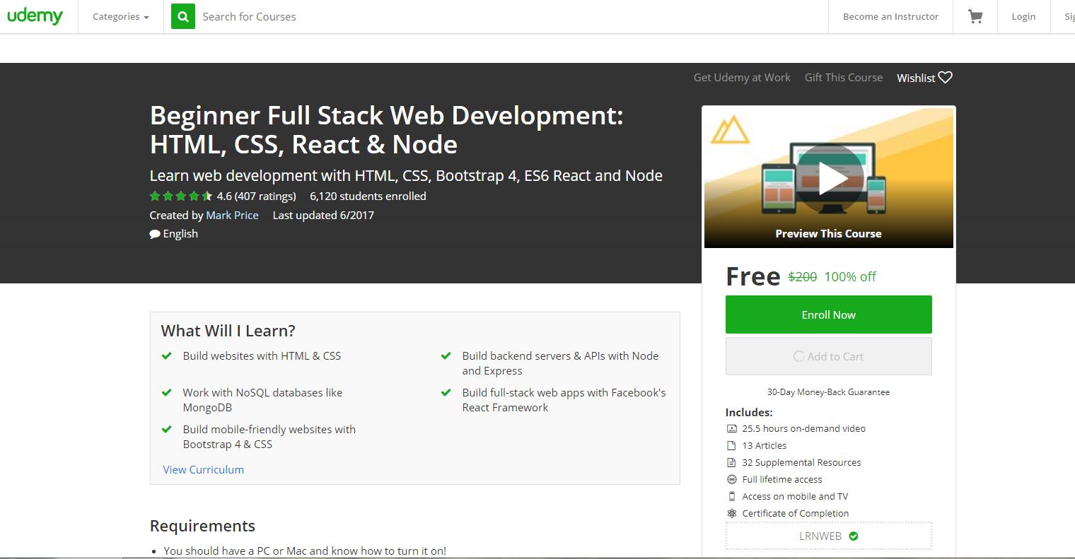 كورس لتطوير المواقع مدته أكثر من 25 ساعة مجانا ولفترة محدودة