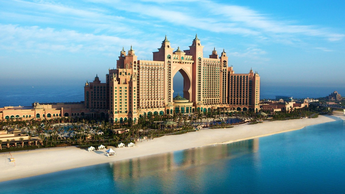 Landscapes Atlantis Dubai skyscapes The_Palm Jumeirah_2560x1440