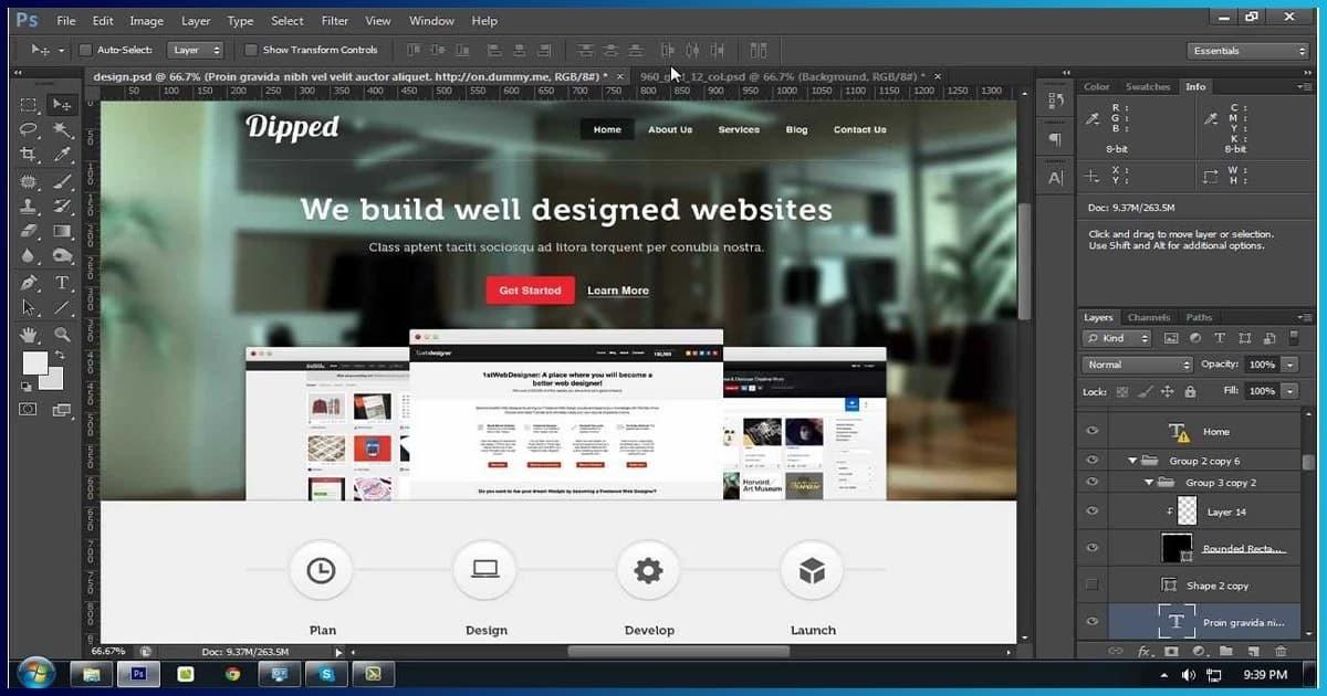 دورة تعلم تصميم مواقع الويب بإستخدام الفوتشوب