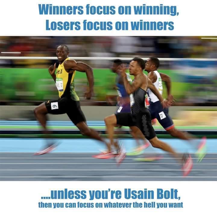 [صورة] الفاشلون يركزون على الناجحين، الناجحون يركزون على الفوز، و اوسان بولت يركز على اي شيء يريده