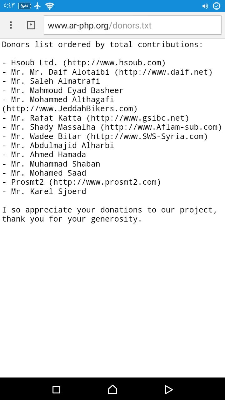 تحتل حسوب المركز الاول للمساهمين في مشروع php واللغه العربية