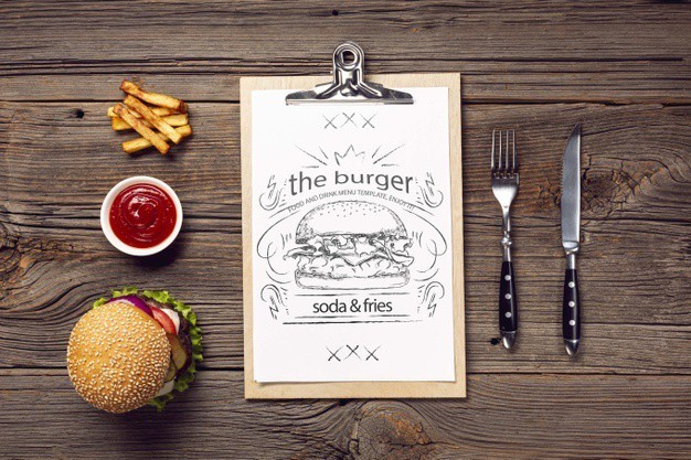cutlery-burger-with-fries-menu-wooden-background_23-2148421429