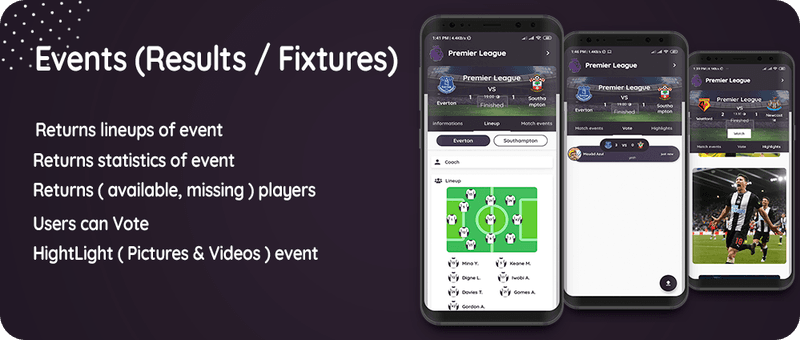 Flutter Football API: LiveScore & Vote Matches & News Sport & Live Matches ( Admob & Facebook ads ) - 3